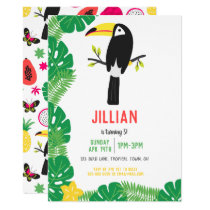 Tropical ToucanTutti Frutti Fruit Birthday Party Invitation