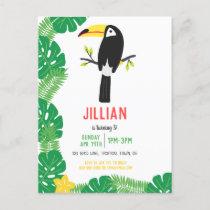 Tropical ToucanTutti Frutti Fruit Birthday Party Invitation Postcard
