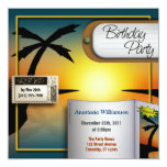 Tropical Travel Sunset Birthday Party Invitations