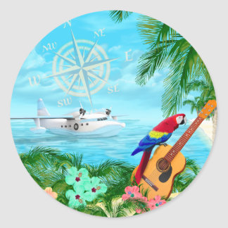 Tropical Travels Classic Round Sticker