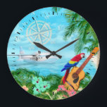 """Tropical Travels Large Clock<br><div class=""""desc"""">Digital artwork of a tropical beach with a macaw parrot perched on a guitar and a Albatross seaplane in the bay.</div>"""