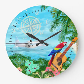Tropical Travels Large Clock