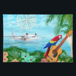 """Tropical Travels Placemat<br><div class=""""desc"""">Digital artwork of a tropical beach with a macaw parrot perched on a guitar and a Albatross seaplane in the bay.</div>"""