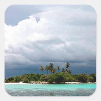 Tropical Treasure Cove Island Square Sticker
