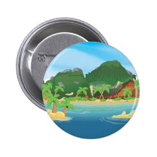 Tropical Treasure Island 2 Inch Round Button