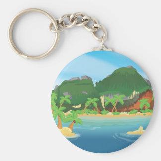 Tropical Treasure Island Basic Round Button Keychain