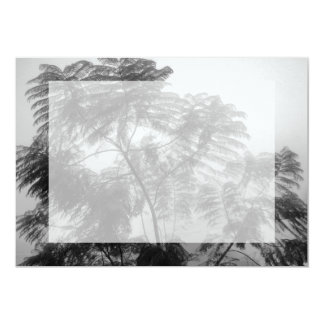 """Tropical Tree Black and White in fog 5"""" X 7"""" Invitation Card"""