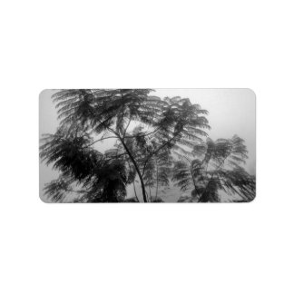 Tropical Tree Black and White in fog Personalized Address Labels