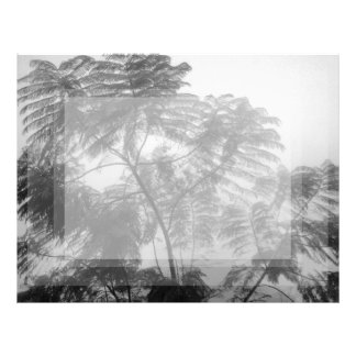 Tropical Tree Black and White in fog Personalized Letterhead
