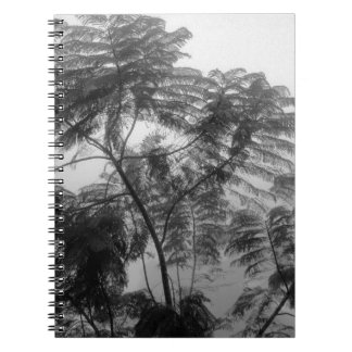 Tropical Tree Black and White in fog Spiral Note Book