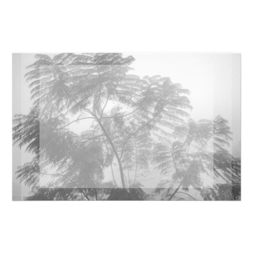 Tropical Tree Black and White in fog Personalized Stationery