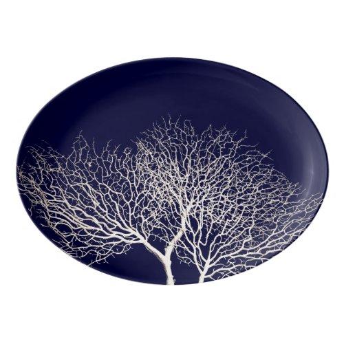 Tropical Tree Coral White Navy Blue Beach Porcelain Serving Platter