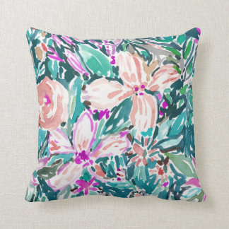 TROPICAL TREK Floral Watercolor 2-SIDED Throw Pillow