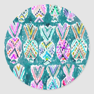 Tropical Tribal Watercolor Pineapple Pattern Classic Round Sticker