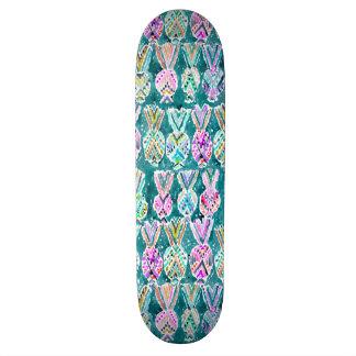 Tropical Tribal Watercolor Pineapple Pattern Skateboard Deck