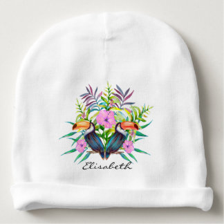 Tropical tucan birds and pink flowers baby beanie