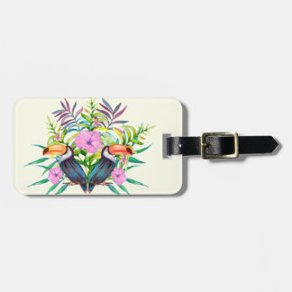 Tropical tucan birds and pink flowers bag tag