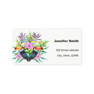 Tropical tucan birds and pink flowers label