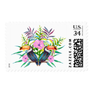 Tropical tucan birds and pink flowers postage