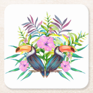 Tropical tucan birds and pink flowers square paper coaster