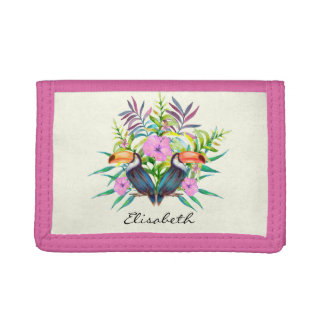 Tropical tucan birds and pink flowers trifold wallet