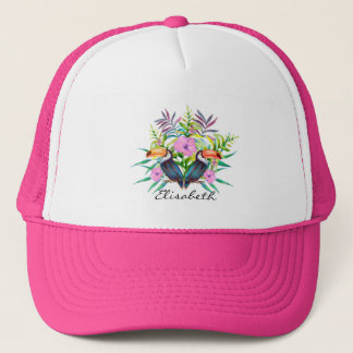 Tropical tucan birds and pink flowers trucker hat