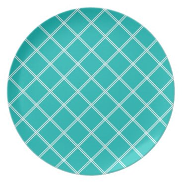 Beach Themed Tropical Turquoise and White Plaid Dinner Plate