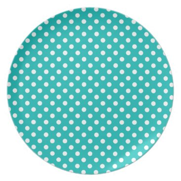 Beach Themed Tropical Turquoise and White Polka Dot Plate