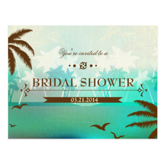 Tropical Turquoise Beach Bridal Shower Invite Postcard