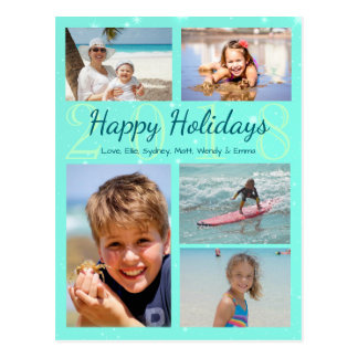 Tropical Turquoise Christmas Year Photo Collage Postcard