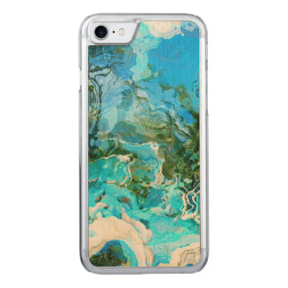 Tropical Turquoise Ocean Blue Carved iPhone 7 Case