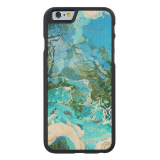 Tropical Turquoise Ocean Blue Carved Maple iPhone 6 Case