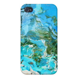 Tropical Turquoise Ocean Blue & Seaweed Green Cover For iPhone 4
