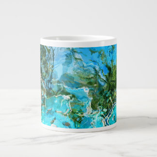 Tropical Turquoise Ocean Blue & Seaweed Green Large Coffee Mug