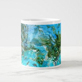 Tropical Turquoise Ocean Blue & Seaweed Green Large Coffee Mug
