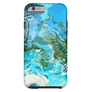 Tropical Turquoise Ocean Blue & Seaweed Green Tough iPhone 6 Case