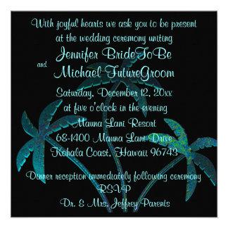 Tropical Turquoise Palm Tree Wedding Invitation