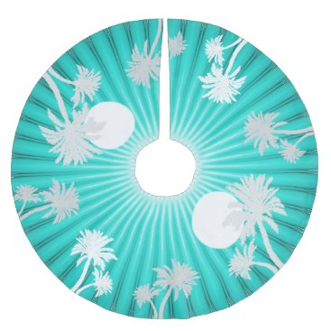 Christmas Themed Tropical Turquoise Palm Trees Christmas Skirt Brushed Polyester Tree Skirt