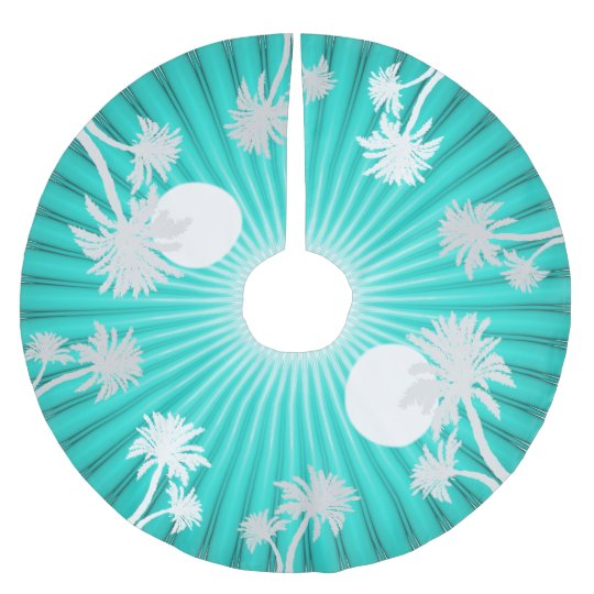 Aqua Christmas Tree Skirt: Tropical Turquoise Palm Trees Christmas Skirt Brushed