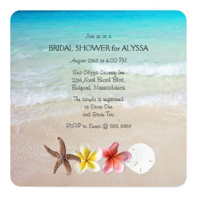 Tropical Turquoise Square Wedding Shower Invites