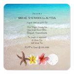 "Tropical Turquoise Square Wedding Shower Invites 5.25"" Square Invitation Card"