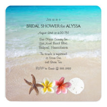 "Tropical Turquoise Square Wedding Shower Invites 5.25"" Square Invitation Card"