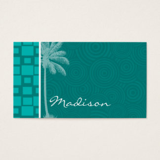Tropical Turquoise Squares Business Card