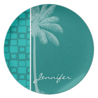 Tropical Turquoise Squares Dinner Plate