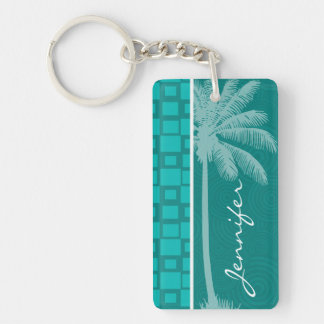 Tropical Turquoise Squares Double-Sided Rectangular Acrylic Keychain