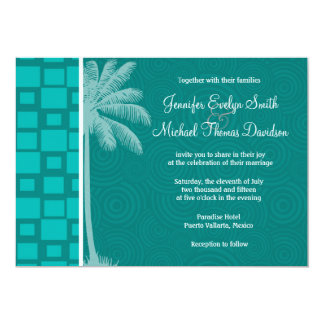 Tropical Turquoise Squares Personalized Announcements
