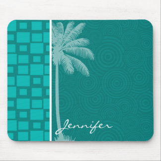 Tropical Turquoise Squares Mouse Pad