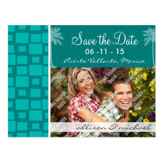 Tropical Turquoise Squares Postcard