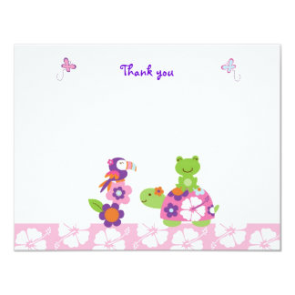 Tropical Turtle Frog Flat Thank You Note Cards