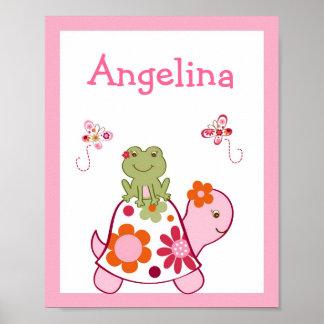 Tropical Turtle Frog Nursery Wall Art Name Print